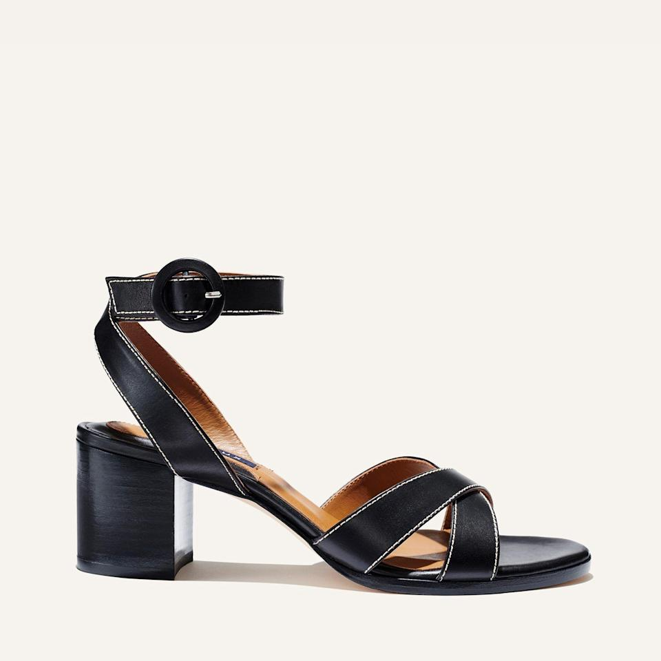 """<p><strong>Margaux </strong></p><p>margauxsamplesale.com</p><p><a href=""""https://margauxsamplesale.com/collections/frontpage/products/the-city-sandal-black-calf"""" rel=""""nofollow noopener"""" target=""""_blank"""" data-ylk=""""slk:SHOP IT"""" class=""""link rapid-noclick-resp"""">SHOP IT </a></p><p><del>$265</del><strong><br>$159 </strong></p><p>Decked out with a comfortable 2.5-inch heel, these sandals are comfortable enough to wear on long walks and eventually to the office once we're able to return safely. </p>"""