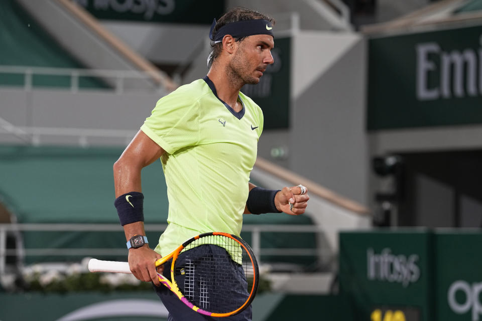 Spain's Rafael Nadal celebrates after winning a point against Richard Gasquet of France during their second round match on day 5, of the French Open tennis tournament at Roland Garros in Paris, France, Thursday, June 3, 2021. (AP Photo/Michel Euler)