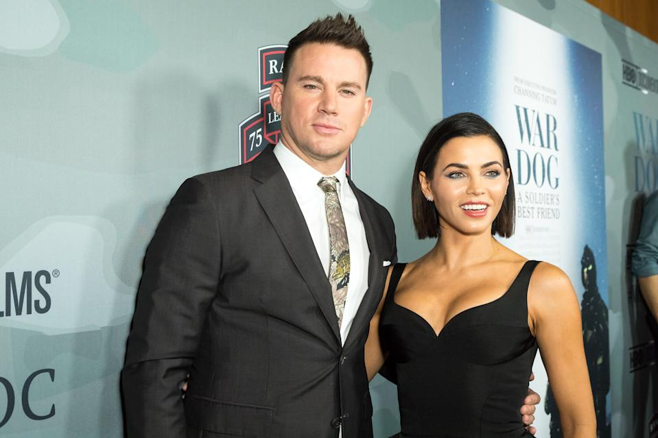 """LOS ANGELES, CALIFORNIA - NOVEMBER 06:  Executive Producer Channing Tatum and wife Jenna Dewan Tatum  attend the HBO And Army Ranger Lead The Way Fun Present The Premiere Of """"War Dog: A Soldier's Best Friend"""" at Directors Guild Of America on November 6, 2017 in Los Angeles, California.  (Photo by Greg Doherty/Getty Images)"""