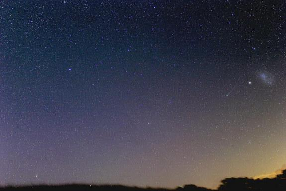 "Astrophotographer Justin Tilbrook of Penwortham, South Australia, caught this photo of Comets Lemmon (bottom left) and Pan-STARRS (right near the Small Magellanic Cloud) together on Feb. 17. 2013. He writes: ""This is the one I've been waiting f"