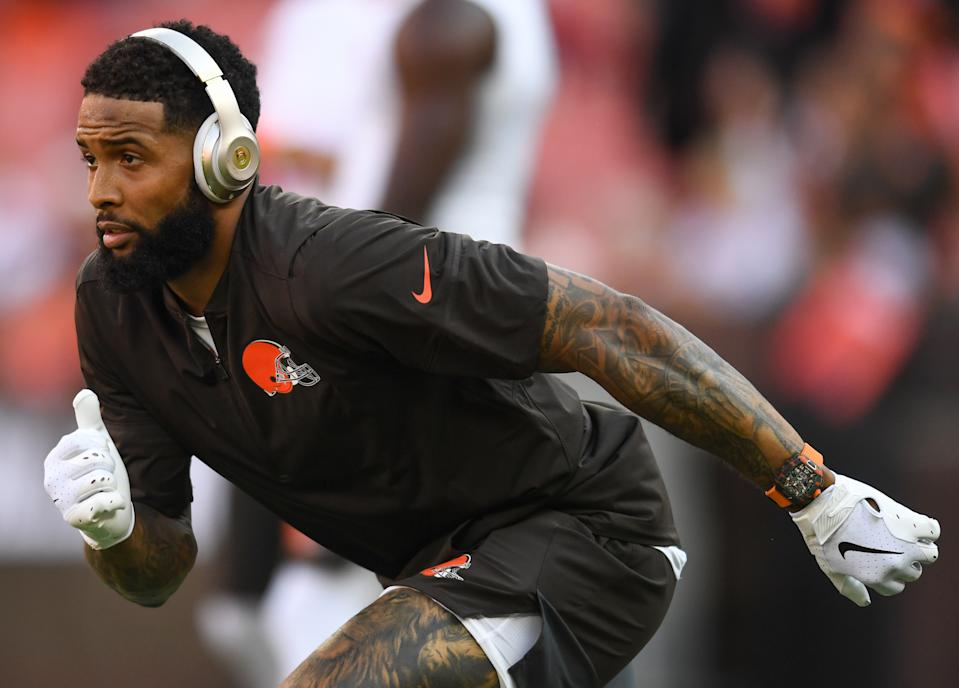 CLEVELAND, OH - AUGUST 8, 2019: Wide receiver Odell Beckham Jr. #13 of the Cleveland Browns runs a route prior to a preseason game against the Washington Redskins on August 8, 2019 at FirstEnergy Stadium in Cleveland, Ohio. Cleveland won 30-10. (Photo by: 2019 Nick Cammett/Diamond Images via Getty Images)
