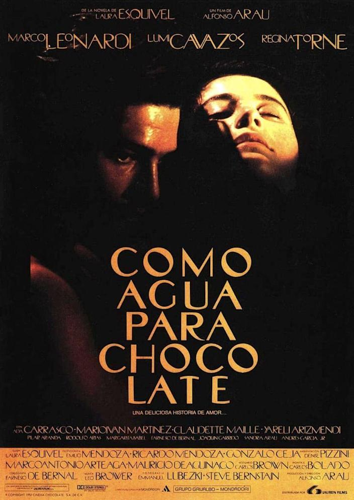 """<p>Based on the <a href=""""https://www.amazon.com/Como-agua-para-chocolate-Spanish/dp/0385721234?tag=syn-yahoo-20&ascsubtag=%5Bartid%7C10055.g.35564148%5Bsrc%7Cyahoo-us"""" rel=""""nofollow noopener"""" target=""""_blank"""" data-ylk=""""slk:1989 debut novel by Laura Esquivel"""" class=""""link rapid-noclick-resp"""">1989 debut novel by Laura Esquivel</a>, this 1992 Mexican film centers around Tita (<strong><a href=""""https://www.imdb.com/name/nm0004816/"""" rel=""""nofollow noopener"""" target=""""_blank"""" data-ylk=""""slk:Lumi Cavazos"""" class=""""link rapid-noclick-resp"""">Lumi Cavazos</a></strong>), the youngest of three sisters. Following a family tradition, she's designated as her mother (<strong><a href=""""https://www.imdb.com/name/nm0868207/"""" rel=""""nofollow noopener"""" target=""""_blank"""" data-ylk=""""slk:Regina Torné"""" class=""""link rapid-noclick-resp"""">Regina Torné</a></strong>)'s caretaker, never to be married. Years later, Tita falls in love with Pedro (<strong><a href=""""https://www.imdb.com/name/nm0502813/"""" rel=""""nofollow noopener"""" target=""""_blank"""" data-ylk=""""slk:Marco Leonardi"""" class=""""link rapid-noclick-resp"""">Marco Leonardi</a></strong>). In a turn of events, Tita's older sister, Rosaura (<strong><a href=""""https://www.imdb.com/name/nm0034976/"""" rel=""""nofollow noopener"""" target=""""_blank"""" data-ylk=""""slk:Yareli Arizmendi"""" class=""""link rapid-noclick-resp"""">Yareli Arizmendi</a></strong>), marries Pedro. But that doesn't mean Tita and Pedro's love story is over.</p><p><a class=""""link rapid-noclick-resp"""" href=""""https://www.amazon.com/Like-Water-Chocolate-Marco-Leonardi/dp/B0064DZIQS?tag=syn-yahoo-20&ascsubtag=%5Bartid%7C10055.g.35564148%5Bsrc%7Cyahoo-us"""" rel=""""nofollow noopener"""" target=""""_blank"""" data-ylk=""""slk:STREAM NOW"""">STREAM NOW</a></p>"""