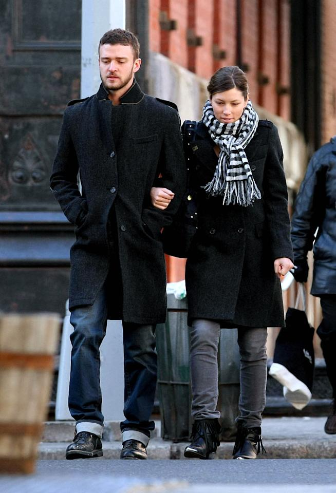 "Justin Timberlake and Jessica Biel were also in New York City checking out their new apartment last week. ""The apartment is great. He's loving it!"" the singer's mother, Lynn Harless, told Us Weekly. <a href=""http://www.infdaily.com"" target=""new"">INFDaily.com</a> - February 17, 2009"