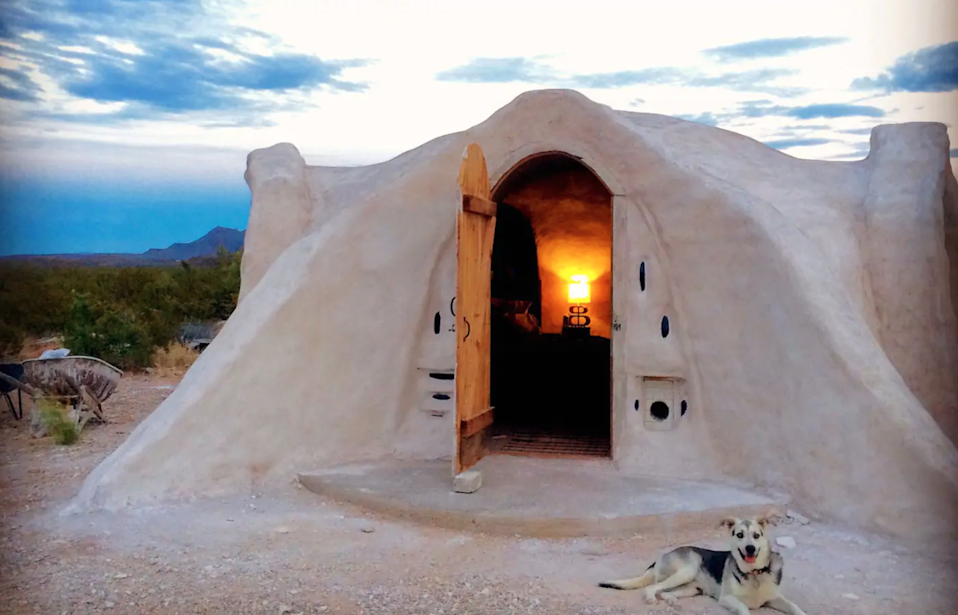 """<h3><span><h2>Big Bend National Park, Texas</h2></span></h3><br><strong>Location: </strong>Terlingua, Texas<br><strong>Sleeps: </strong>3<br><strong>Price Per Night: </strong><a href=""""https://airbnb.pvxt.net/KeBAjv"""" rel=""""nofollow noopener"""" target=""""_blank"""" data-ylk=""""slk:$105"""" class=""""link rapid-noclick-resp"""">$105</a><br><br>""""The dome is a very remote and unique space in the desert near Big Bend National Park. The dome rests in an isolated but easily accessible off-grid setting in one of the few remaining territories under a dark sky ordinance, which offers unmatched views of the night sky, and a completely unobstructed view of a horizon that delivers truly majestic sunrises and sunsets."""" <br><br><h3><a href=""""https://airbnb.pvxt.net/KeBAjv"""" rel=""""nofollow noopener"""" target=""""_blank"""" data-ylk=""""slk:Book Terluna: Off-Grid Adobe Dome Near Big Bend"""" class=""""link rapid-noclick-resp"""">Book Terluna: Off-Grid Adobe Dome Near Big Bend</a></h3><span class=""""copyright"""">Photo: Courtesy of Airbnb.</span>"""