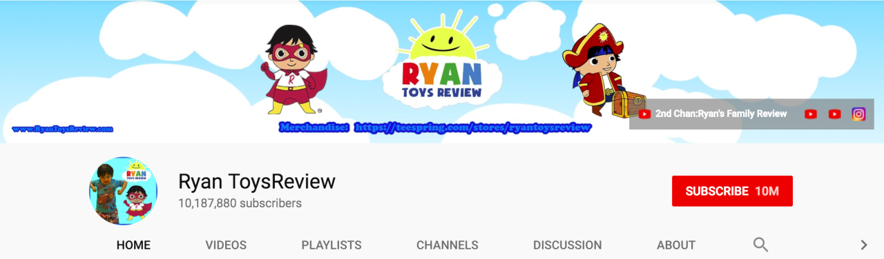 <p>Reviews online can sometimes be tedious to read through and lack the added personality that you may find on YouTube, as seen with this 7-year-old. The channel is run by Ryan's family so although he is the star, there's some serious work by the rest of the crew behind the scenes. He's the envy of all the kids and entertaining for those wanting to see what the latest and greatest goods are in toy land — from Playdoh to Tonka trucks, he's on it. Ryan's channel has only been around for a couple of years and he's already amassed over 10 million subscribers. <br />(Ryan ToysReview / @YouTube) </p>