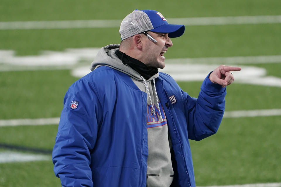 New York Giants head coach Joe Judge reacts during the second half of an NFL game against the Tampa Bay Buccaneers.