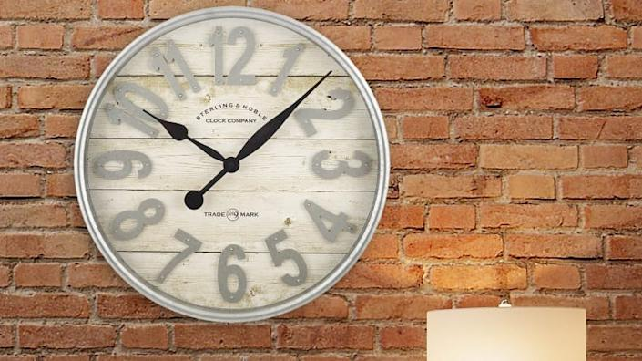 Decorate your wall with this farmhouse-style clock.