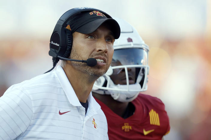 """FILE - In this Saturday, Sept. 4, 2021, file photo, Iowa State head coach Matt Campbell looks to the scoreboard during the second half of an NCAA college football game against Northern Iowa in Ames, Iowa. No. 9 Iowa State is preparing to play what is undeniably the biggest home game in the 129-year history of the program. The top-10 matchup with rival Iowa on Saturday drew ESPN's popular pregame show, """"College GameDay."""" (AP Photo/Matthew Putney File)"""