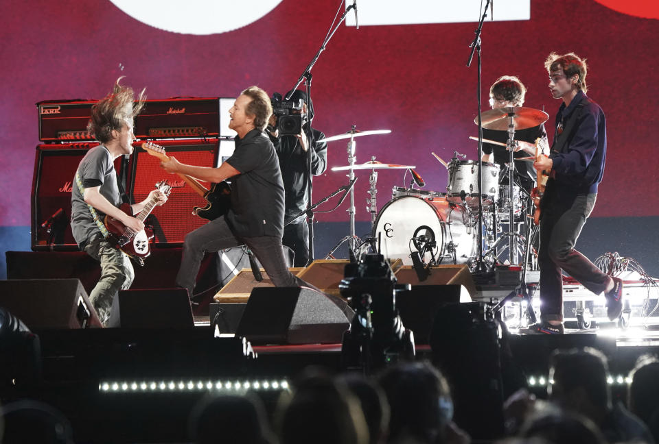 """Eddie Vedder performs at """"Vax Live: The Concert to Reunite the World"""" on Sunday, May 2, 2021, at SoFi Stadium in Inglewood, Calif. (Photo by Jordan Strauss/Invision/AP)"""
