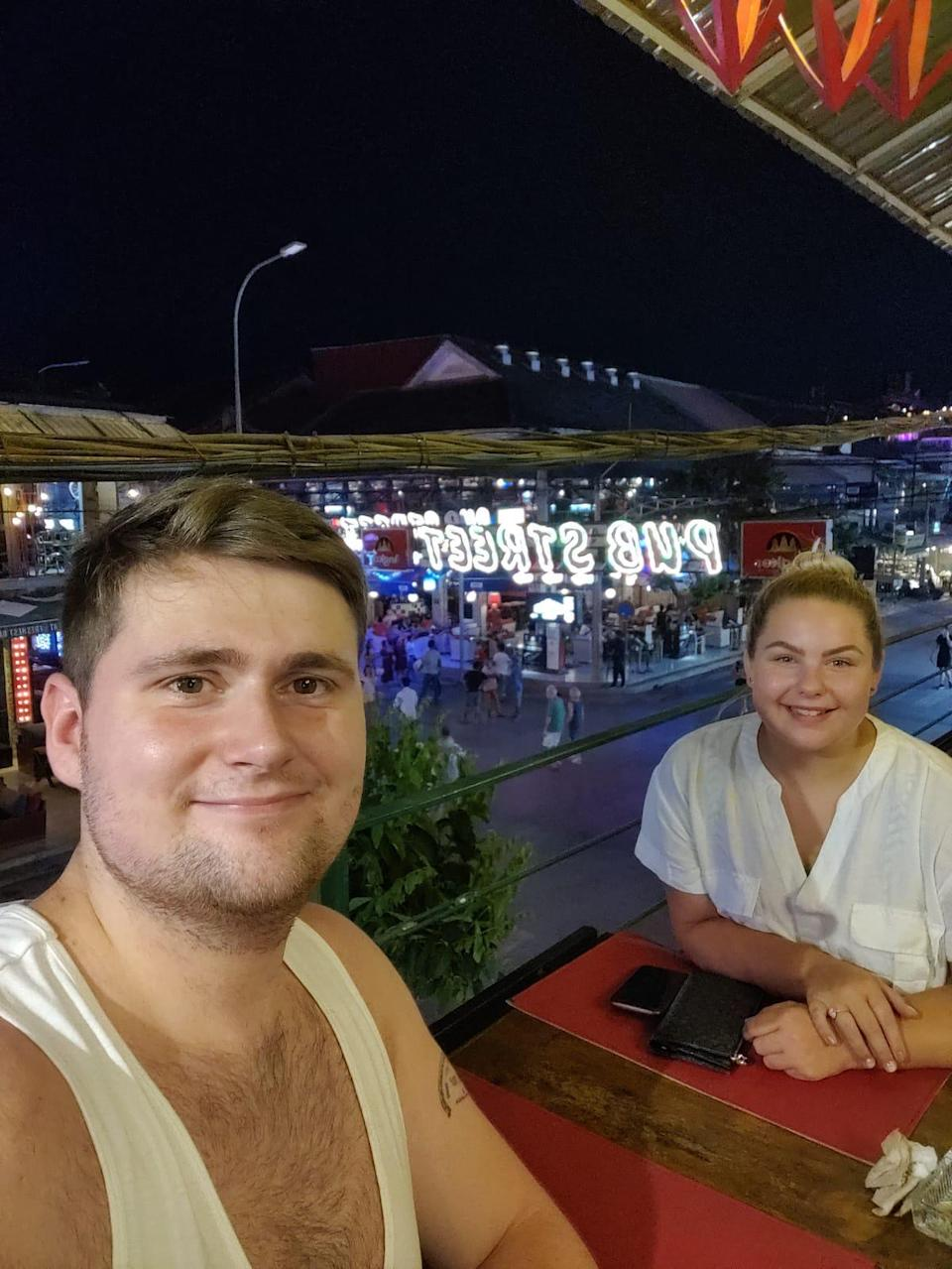 Chloe Sloggett and her fiance Toby Hastie, from North London, returned to the UK from Cambodia on Saturday (Chloe Sloggett handout/PA)