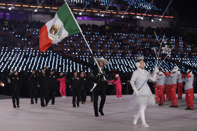 <p>German Madrazo carries the flag of Mexico during the opening ceremony of the 2018 Winter Olympics in Pyeongchang, South Korea, Friday, Feb. 9, 2018. (AP Photo/Petr David Josek) </p>