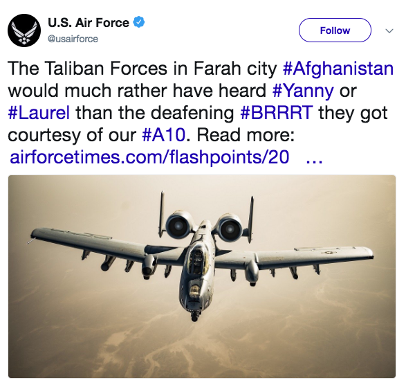 A tweet posted by the Air Force Thursday morning attempting to join the viral debate over an audio clip.