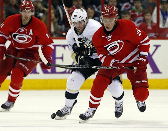 Carolina Hurricanes' Alexander Semin (28), of Russia, battles with Pittsburgh Penguins' James Neal (18) during the second period of an NHL hockey game, Friday, Dec. 27, 2013, in Raleigh, N.C. (AP Photo/Karl B DeBlaker)