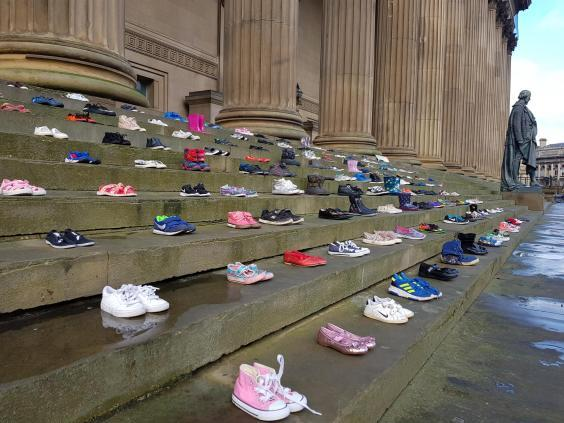 226 shoes were displayed to represent the number of young people who took their own lives in 2017 (Chasing the Stigma)