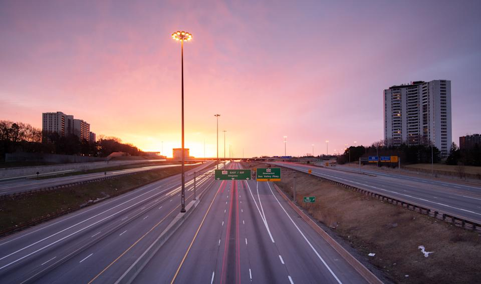 In this stock photo, an empty Highway 401 is seen at dusk in Toronto. (Photo: Getty Images)