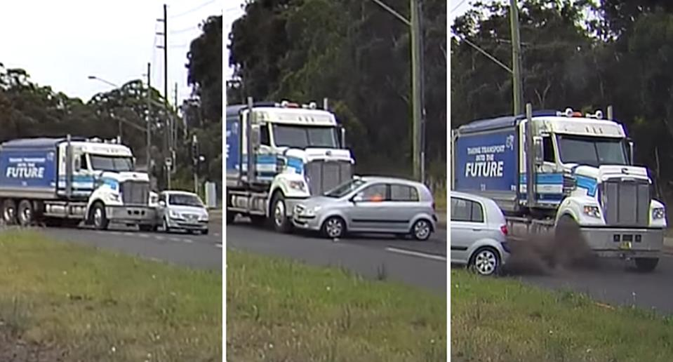 A Hyundai Gets gets t-boned by a truck in Port Kembla.