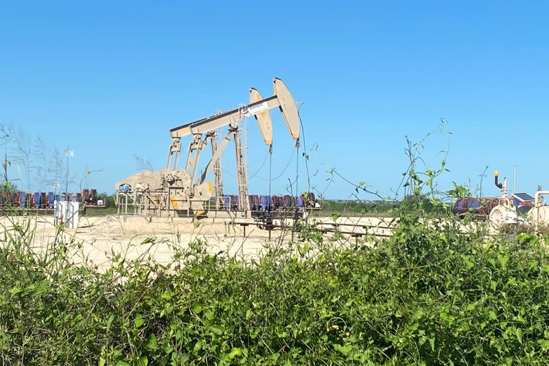 FILE PHOTO: Oil pumps are seen in Karnes County