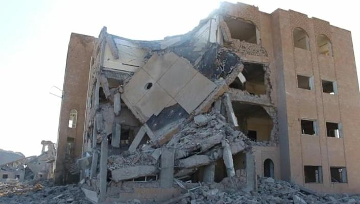 A screen grab from an AFPTV video shows the destroyed building following reported airstrikes on September 1 (AFP Photo/-)