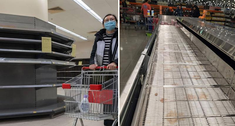 Bare shelves are seen inside supermarkets in Hong Kong (left) and New York (right).