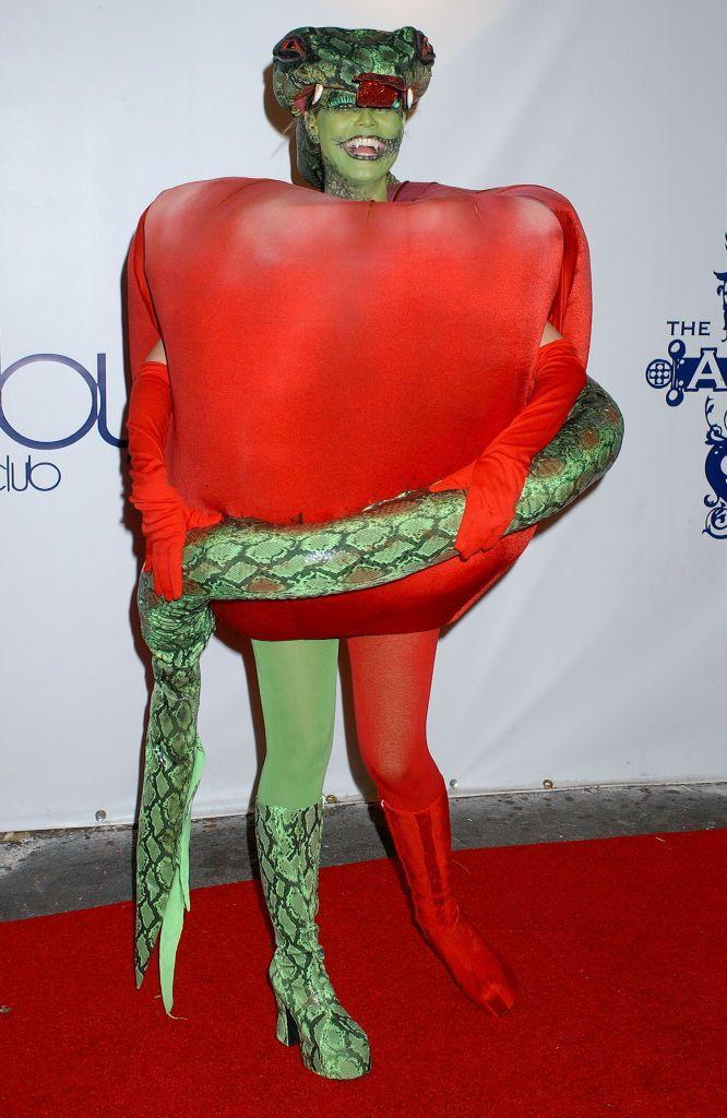 <p>Heidi walked her Halloween red carpet in 2006 as the Forbidden Fruit from the Garden of Eden. Seal joined her as Eve, naturally. </p>