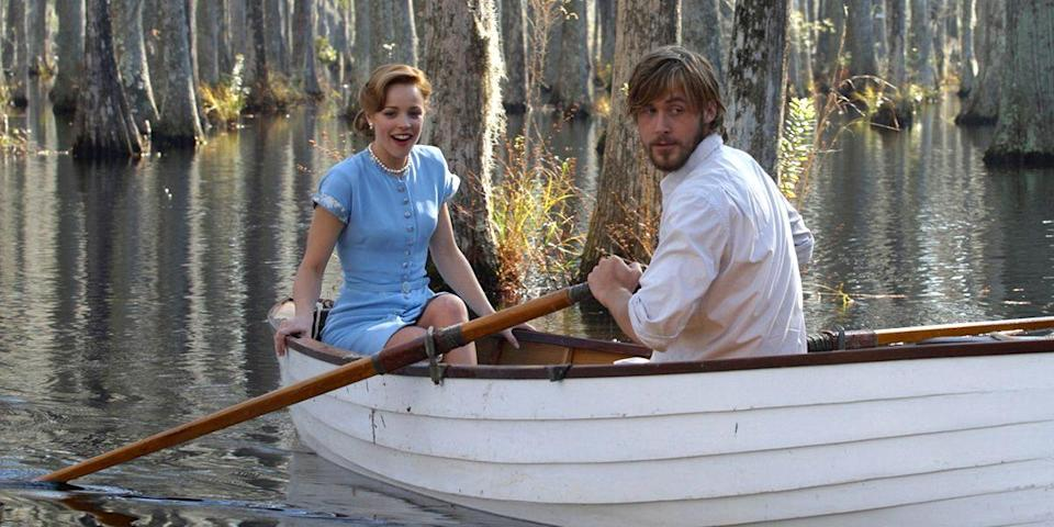 "<p>Mixing business with pleasure: a recipe for spicy onscreen love affairs. One in particular we can't get enough of? Then-real life couple Rachel McAdams and Ryan Gosling as Noah and Allie in this soapy Nicholas Sparks adaptation. Their chemistry is so hot, it makes our teeth sweat. <a class=""link rapid-noclick-resp"" href=""https://go.redirectingat.com?id=74968X1596630&url=https%3A%2F%2Fitunes.apple.com%2Fus%2Fmovie%2Fthe-notebook%2Fid595178029&sref=https%3A%2F%2Fwww.harpersbazaar.com%2Fculture%2Ffilm-tv%2Fg6498%2Fmost-romantic-movies%2F"" rel=""nofollow noopener"" target=""_blank"" data-ylk=""slk:Watch Now"">Watch Now</a></p>"