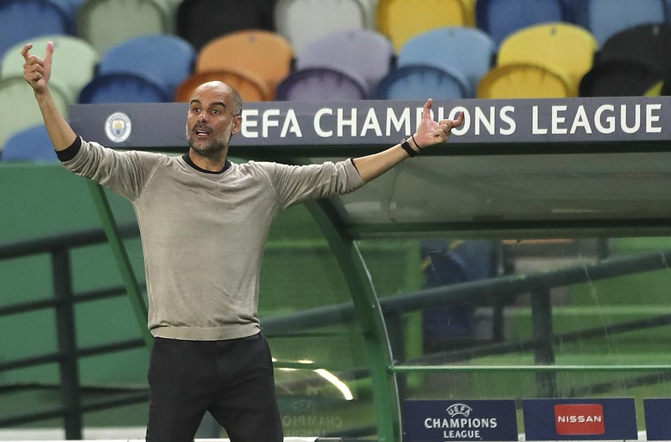 Pep Guardiola and Manchester City, undone by the Champions League quarterfinals yet again. (Miguel A. Lopes/Pool via AP)