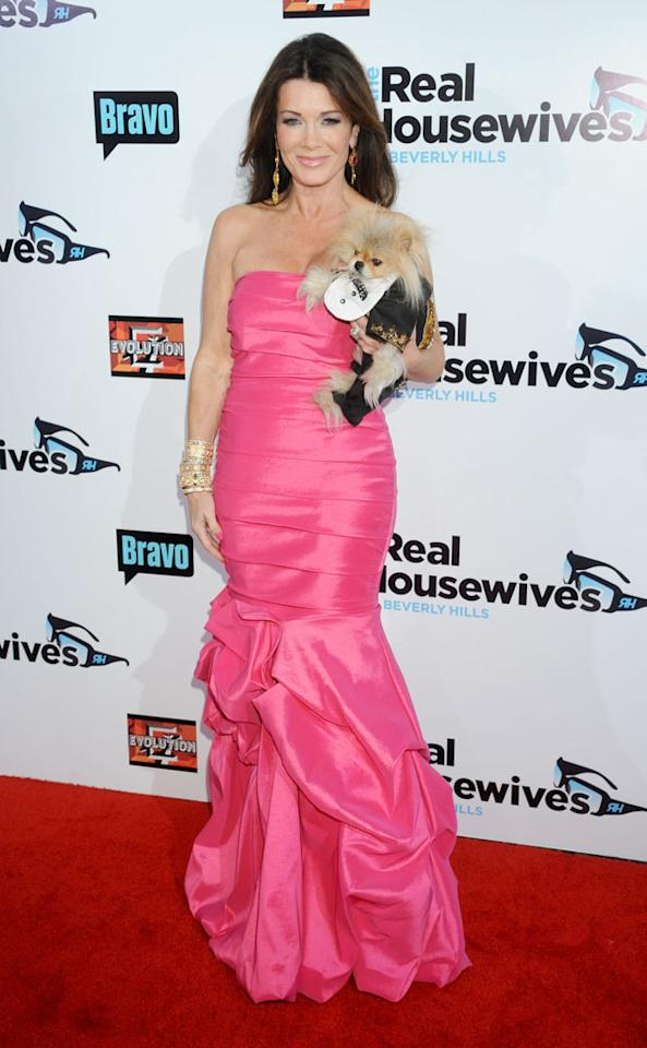 "Lisa Vanderpump and Giggy arrive at ""The Real Housewives Of Beverly Hills"" Season 3 premiere party at the Hollywood Roosevelt Hotel on October 21, 2012 in Hollywood, California."