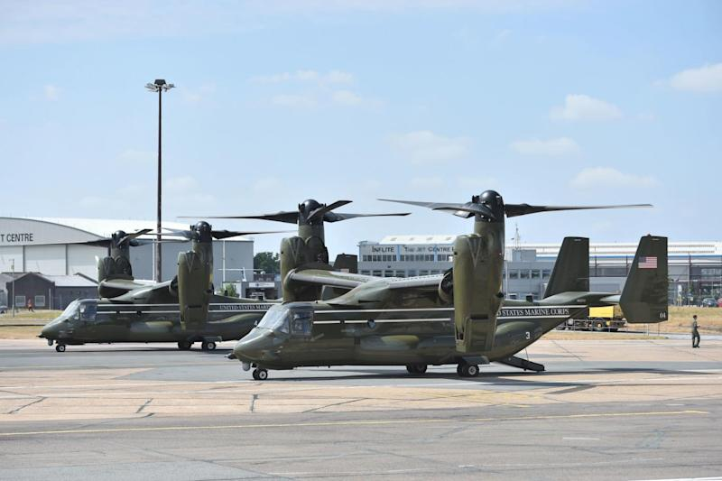 Osprey aircraft on the tarmac at Stansted (PA)