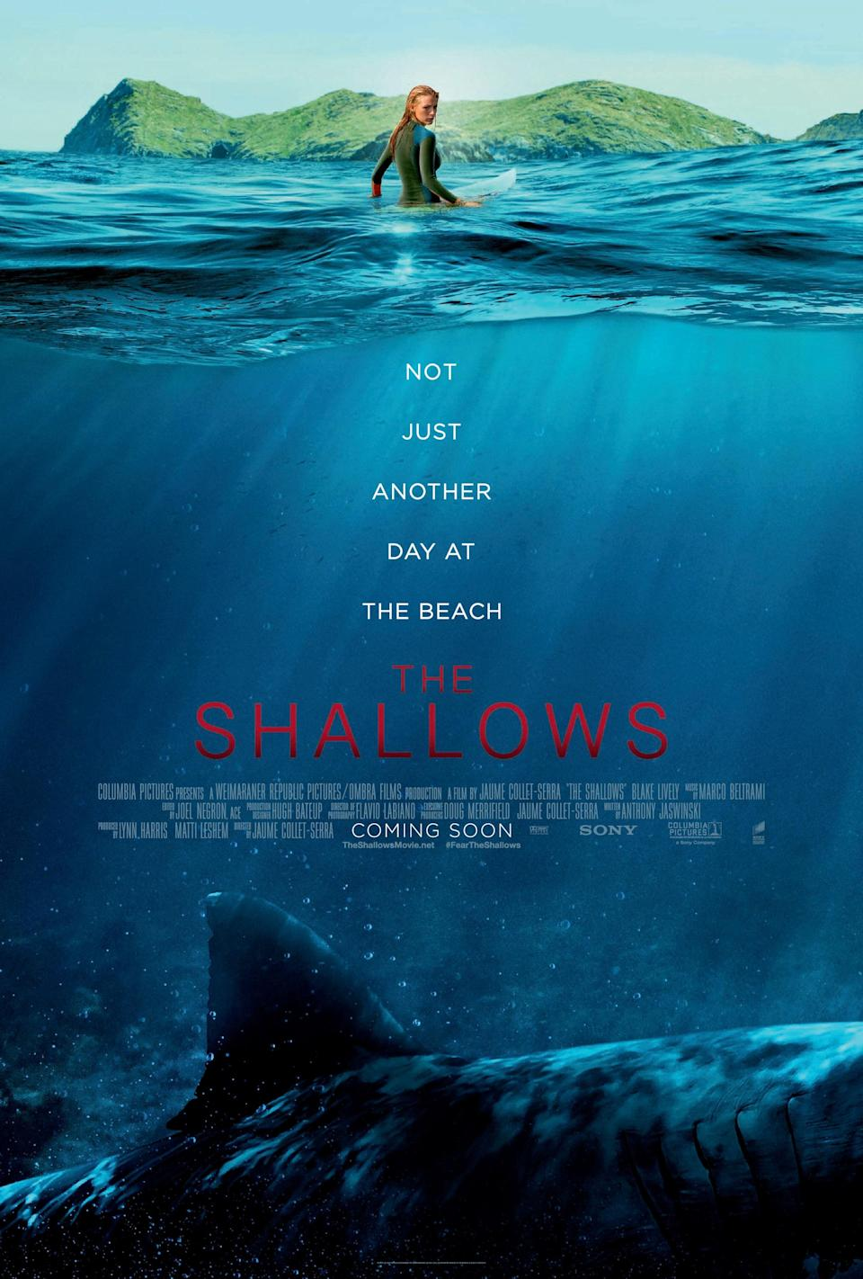 """<h1 class=""""title"""">THE SHALLOWS, poster art, Blake Lively, 2016. ©Columbia Pictures/courtesy Everett Collection</h1><cite class=""""credit"""">©Columbia Pictures/Courtesy Everett Collection</cite>"""