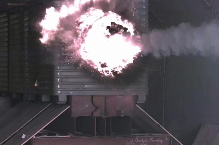 A test round from the US Navy's Electromagnetic Railgun hits a target with scientists ultimately expecting railgun rounds to travel at speeds up to Mach 7.5, over a distance of about 100 miles (AFP Photo/John F. Williams)
