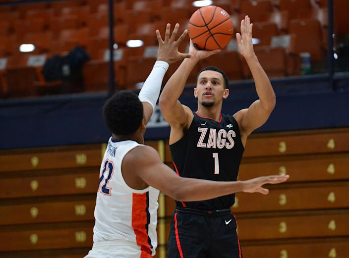 Gonzaga Bulldogs guard Jalen Suggs (1) shoots against Pepperdine during a game. (Gary A. Vasquez-USA TODAY Sports)