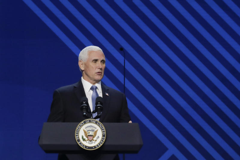 Vice President Mike Pence speaks at Passion City Church during a memorial service for Ravi Zacharias on Friday, May 29, 2020, in Atlanta. (AP Photo/Brynn Anderson)