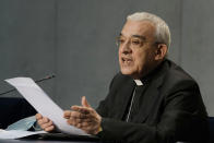 Mons. Filippo Iannone speaks during a press conference to illustrate changes in the Church's Canon law, at the Vatican, Tuesday, June 1, 2021. Pope Francis has changed church law to explicitly criminalize the sexual abuse of adults by priests who abuse their authority and to say that laypeople who hold church office can be sanctioned for similar sex crimes. (AP Photo/Andrew Medichini)