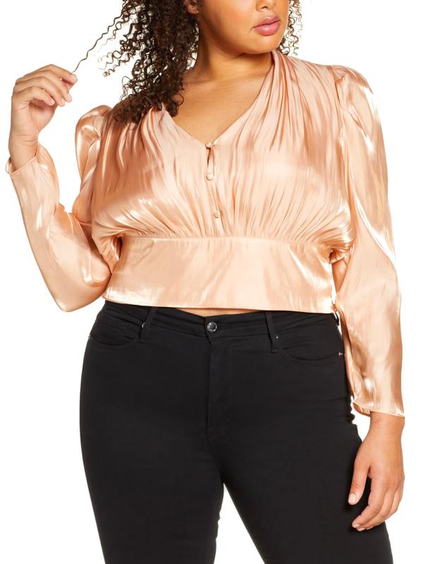 "The champagne color! The buttons! The silky sheen! Not sure what we love most about this dreamy blouse, but the good news is we don't have to choose. $59, Nordstrom. <a href=""https://shop.nordstrom.com/s/leith-shine-long-sleeve-button-front-blouse-plus-size/5410366/full"">Get it now!</a>"