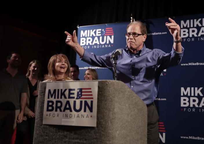 """<span class=""""s1"""">Mike Braun thanks supporters after winning the Republican primary on May 8. He faces Joe Donnelly in November. (Photo: Michael Conroy/AP)</span>"""