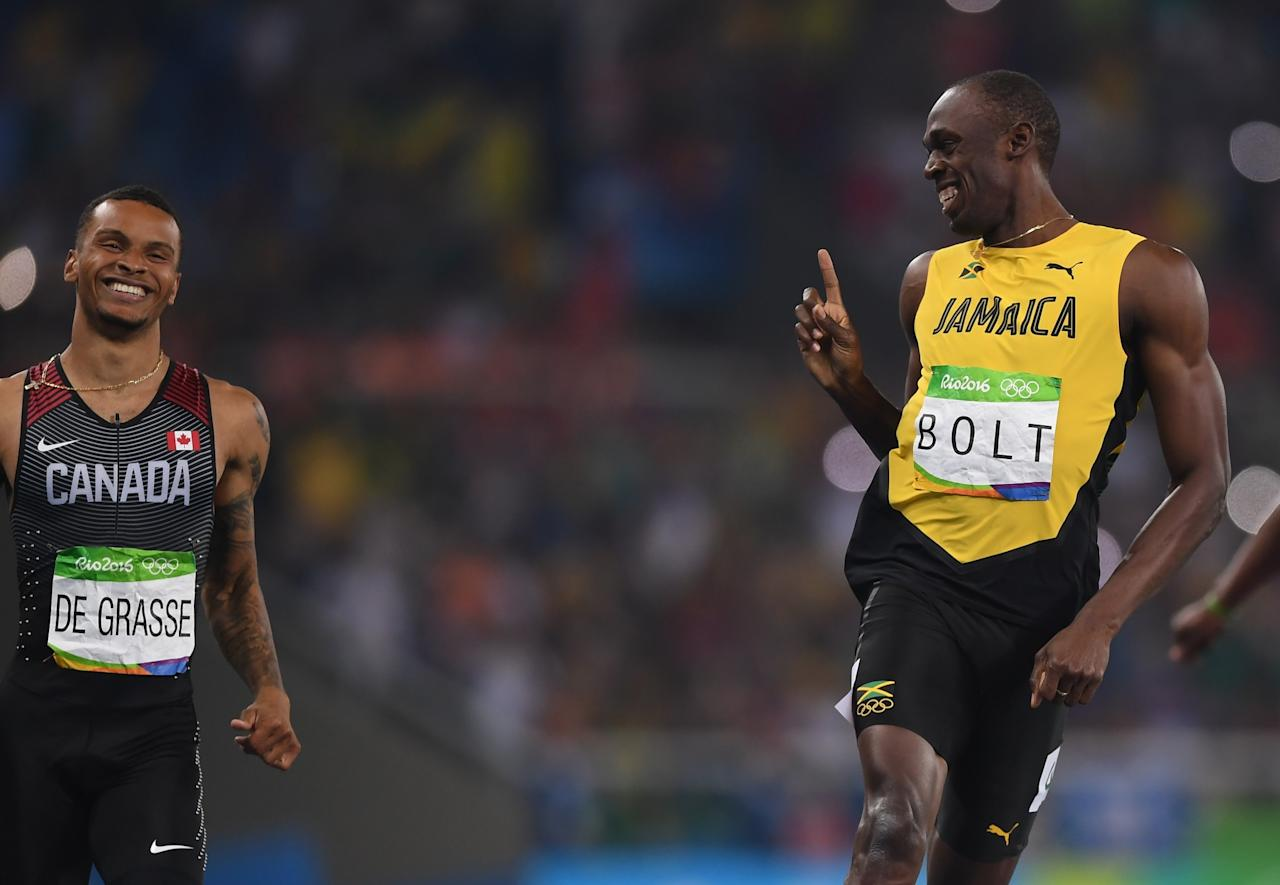 <p>The endless memes that started after exchanges between Jamaica's Usain Bolt and Markham, Ont., native Andre De Grasse at the Rio Olympics. Photo from Getty Images </p>