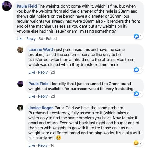 Social media posts showing three different customers with the same complaint about the weight bench.