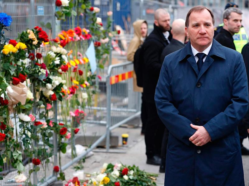 Swedish Prime Minister Stefan Lofven at a memorial near the scene of the lorry attack in Stockholm (AFP/Getty)