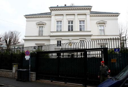 A member of the Austrian armed forces stands in front of the Iranian ambassador's residence in Vienna