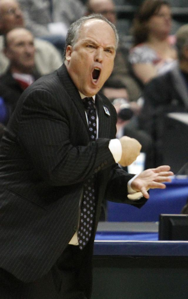 FILE - In this March 8, 2012, file photo, Nebraska head coach Doc Sadler directs his team in the first half of an NCAA college basketball game against Purdue in the first round of the Big Ten Conference tournament in Indianapolis. outhern Mississippi has hired the former Nebraska coach as its next basketball coach, the school announced Wednesday, April 30, 2014. (AP Photo/Kiichiro Sato, File)