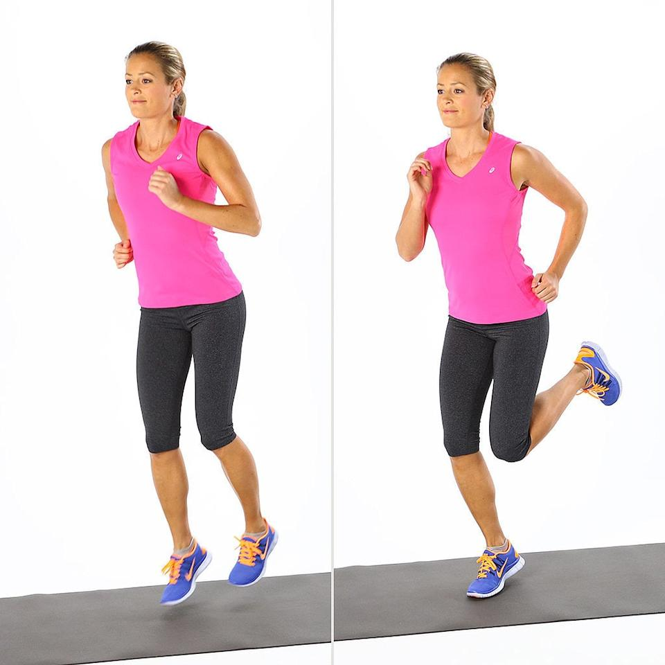 """<ul> <li>Stand tall on the balls of your feet, hips-width apart.</li> <li>Similar to jogging in place, bring (or """"kick"""") your heels to your butt rapidly, alternating legs.</li> <li>Continue for one minute.</li> </ul>"""