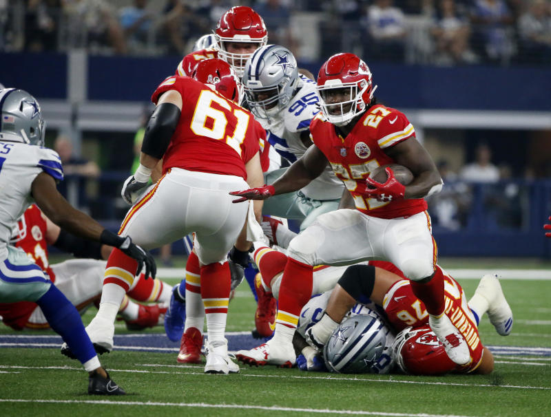 Kansas City Chiefs running back Kareem Hunt hasn't scored since Week 3. (AP)