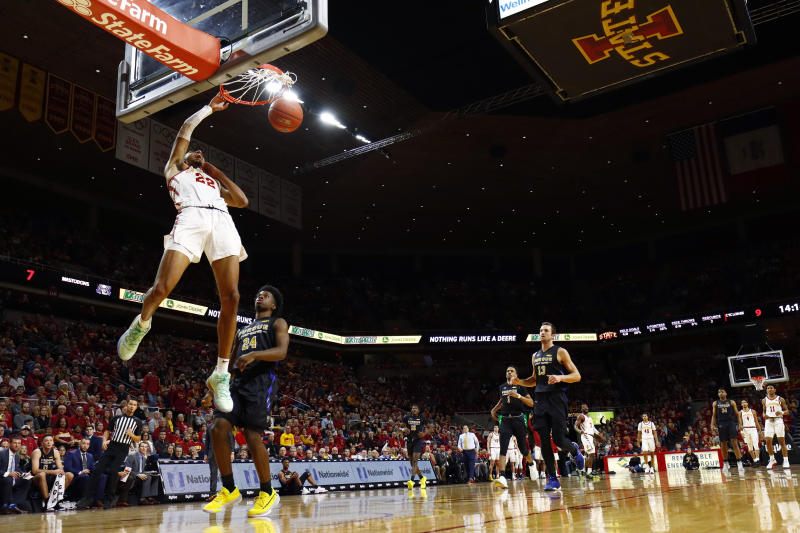 Iowa State guard Tyrese Haliburton (22) dunks the ball during the first half of an NCAA college basketball game against Purdue Fort Wayne, Sunday, Dec. 22, 2019, in Ames, Iowa. (AP Photo/Matthew Putney)