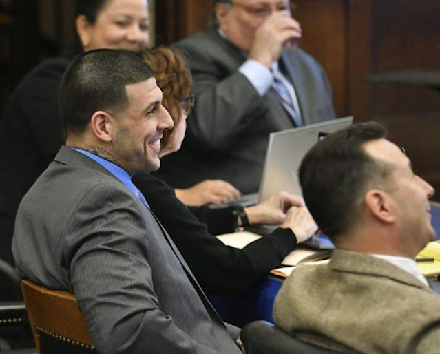 Parts of Shayanna Jenkins-Hernandez's testimony drew a smile from Aaron Hernandez, who is facing a double murder charge. (AP)