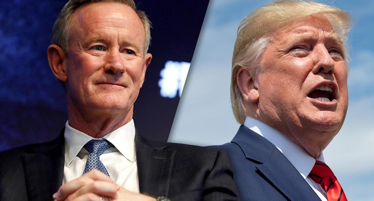 Retired Adm. William McRaven and President Trump (Photos: Mike Segar/Reuters, Saul Loeb/AFP/Getty Images)