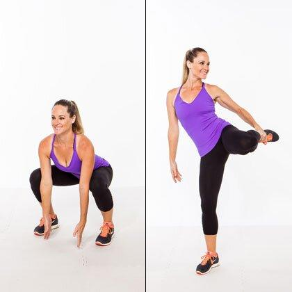 """<p>Adding a balance challenge to a <a href=""""https://www.shape.com/fitness/workouts/how-maximize-those-butt-toning-squats"""" target=""""_blank"""">standard squat</a> will keep your hips, glutes, and abs firing the entire time.</p> <ul><li>Stand tall with your feet slightly wider than hip-width apart.</li> <li>Keeping your chest lifted and maintaining a neutral spine, lower into a deep squat, reaching both arms to the floor (try to tap the ground if you can).</li> <li>As you press up, shift your weight into your right leg as you bend your left knee and grab onto your shin with your left hand [as shown].</li> <li>Hold the hip workout here for 1 count, release your leg, and return to start.</li> </ul><p><strong>Do 20 reps total, alternating sides.</strong></p>"""