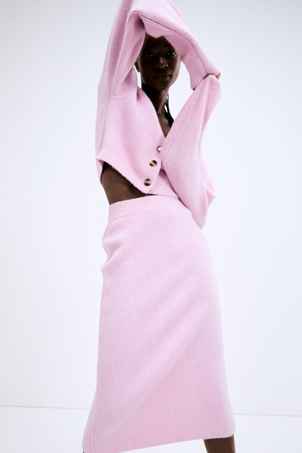 <p>Style this <span>Ribbed Pencil Skirt</span> ($30) with its matching pink shirt for a striking monochrome moment.</p>