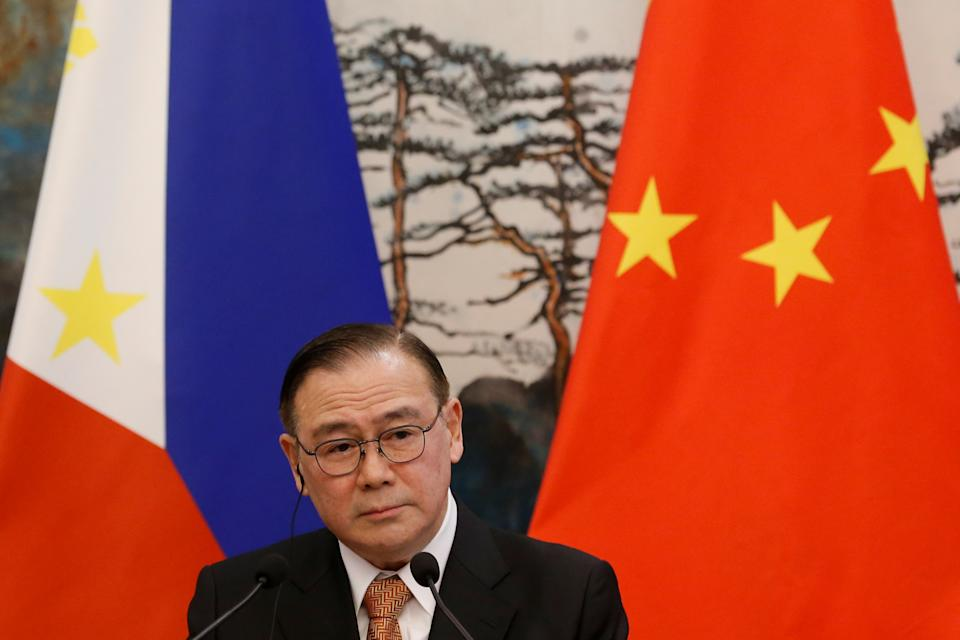 FILE PHOTO: Philippine Foreign Secretary Teodoro Locsin Jr. attends a news conference after talks with Chinese Foreign Minister Wang Yi at the Diaoyutai State Guesthouse in Beijing, China March 20, 2019. REUTERS/Thomas Peter