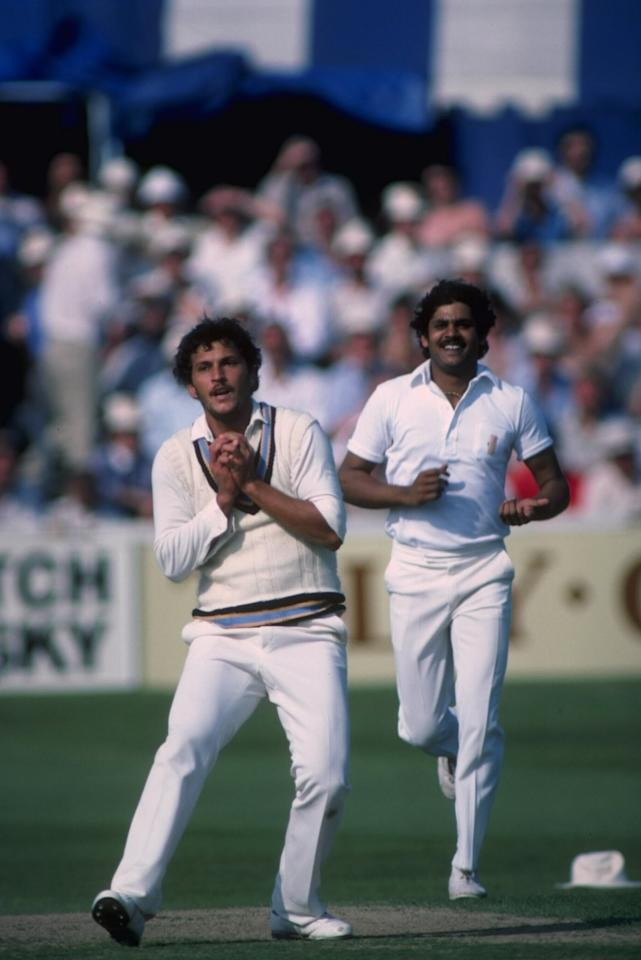 June 1983: Cricket World Cup. Roger Binny of India takes a catch with Kirti Azad backing up during India's victory over Australia at Chelmsford.