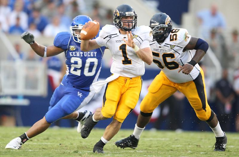 A strong pro day for Julian Edelman, pictured in 2007 as Kent State's QB vs. Kentucky, worked in his favor. (Photo by Andy Lyons/Getty Images)